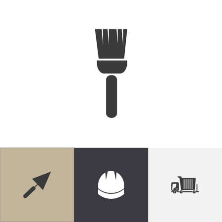 Set of 4 editable construction icons. Includes symbols such as helmet, brush, trowel and more. Can be used for web, mobile, UI and infographic design.