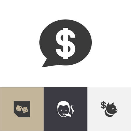 Set of 4 editable excitement icons. Includes symbols such as backgammon, casino boy, dog fighting bet and more. Can be used for web, mobile, UI and infographic design.