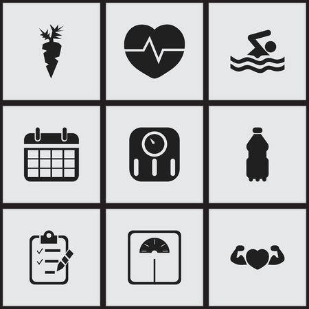 Set of 9 editable fitness icons. Includes symbols such as calendar, mass measurement, carrot and more. Can be used for web, mobile, UI and infographic design. Illustration