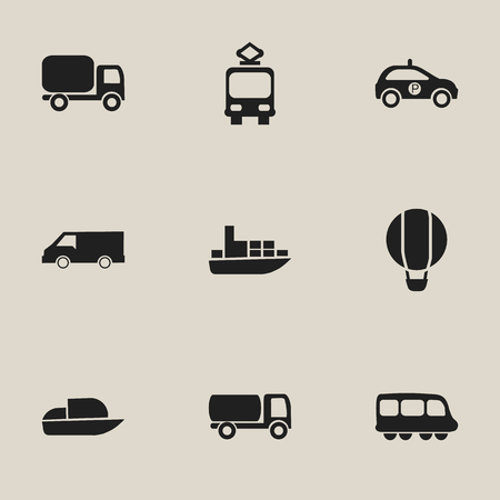Set of 9 editable transport icons. Includes symbols such as air balloon, boat, delivery and more. Can be used for web, mobile, UI and infographic design. Illustration