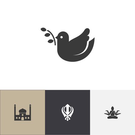 Set of 4 editable faith icons. Includes symbols such as khanda, dove, hinduistic goddess. Can be used for web, mobile, UI and infographic design. Vettoriali
