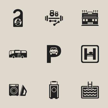 Set of 9 editable hotel icons. Includes symbols such as building, airport shuttle, pool and more. Can be used for web, mobile, UI and infographic design.