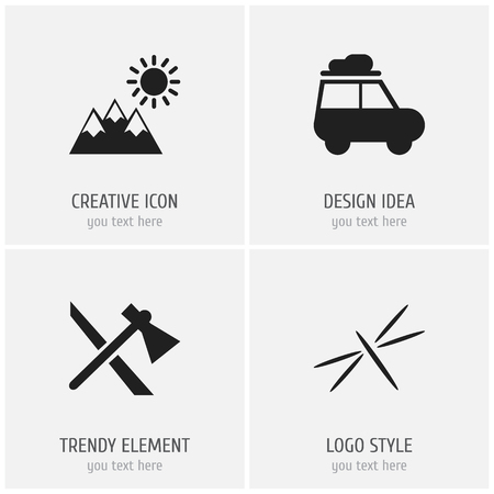 Set of 4 editable camping icons. Includes symbols such as dragonfly, caravan, pinnacle and more. Can be used for web, mobile, UI and infographic design.