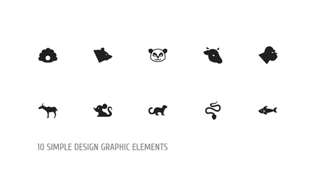 Set of 10 editable zoo icons. Includes symbols such as bear, ferret, gorilla and more. Can be used for web, mobile, UI and infographic design.