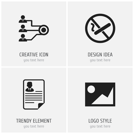Set of 4 editable office icons. Includes symbols such as resume, structure, no cigarette and more. Can be used for web, mobile, UI and infographic design.