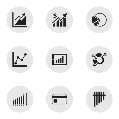 Set of 9 editable analytics icons. Includes symbols such as segment, investment, tablet analysis and more. Can be used for web, mobile, UI and infographic design.