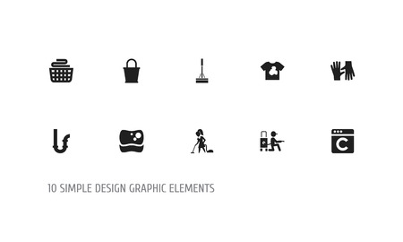 Set of 10 editable cleanup icons. Includes symbols such as bucket, dirty t-shirt, swob and more. Can be used for web, mobile, UI and infographic design. Vettoriali
