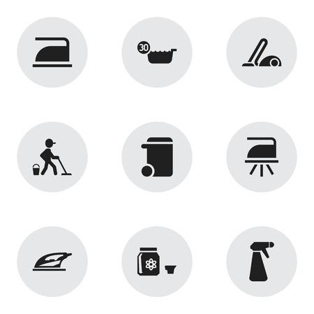 Conjunto de 9 iconos de higiene editables. Incluye símbolos como cartón prensado, bote de basura, aspirador y más. Se puede utilizar para diseño web, móvil, UI e infográfico. Ilustración de vector