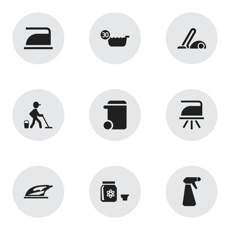 Set of 9 editable hygiene icons. Includes symbols such as pressboard, trash can, hoover and more. Can be used for web, mobile, UI and infographic design.