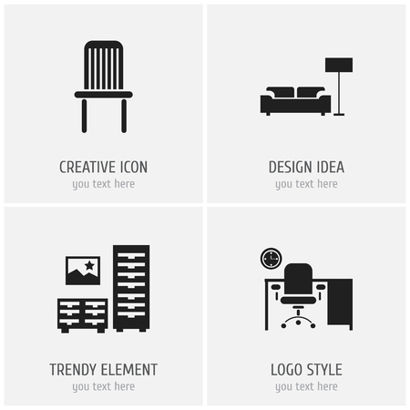Set of 4 editable furnishings icons. Includes symbols such as lounge, bureau, chair and more. Can be used for web, mobile, UI and infographic design.