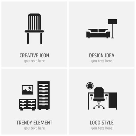 4つの編集可能な家具のアイコンのセット。ラウンジ、支局、椅子などのシンボルが含まれています。ウェブ、モバイル、UI、インフォグラフィックデザインに使用できます。 写真素材 - 109891578