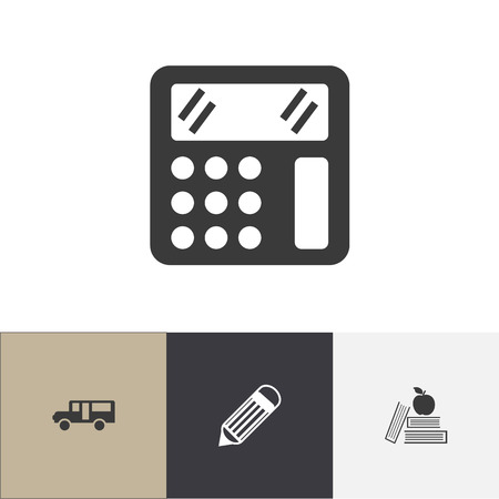 Set of 4 editable school icons. Includes symbols such as bus, pencil, apple on book and more. Can be used for web, mobile, UI and infographic design.