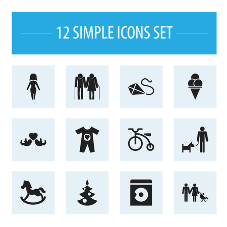 Set of 12 editable folks icons. Includes symbols such as christmas tree, parents, lovebirds and more. Can be used for web, mobile, UI and infographic design.