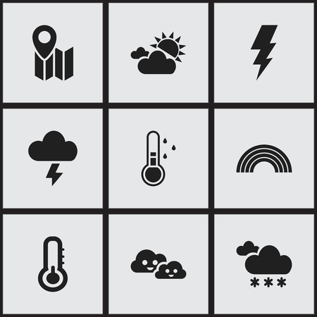 Set of 9 editable air icons. Includes symbols such as electrical discharge, weather after rain, lightning and more. Can be used for web, mobile, UI and infographic design.