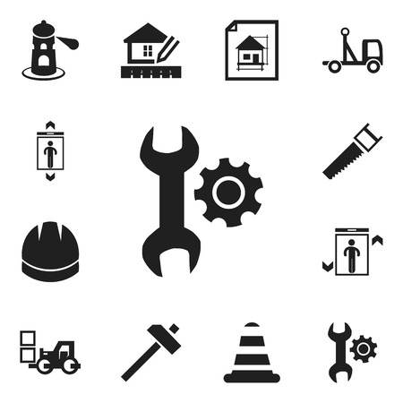 Set of 12 editable building icons. Includes symbols such as saw, lighthouse, handle hit. Can be used for web, mobile, UI and infographic design.
