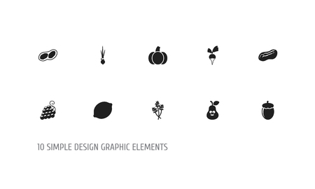 Set of 10 editable cooking icons. Includes symbols such as peanut, dill, pumpkin and more. Can be used for web, mobile, UI and infographic design.