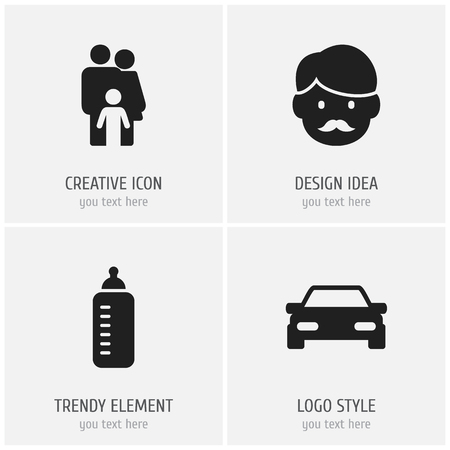 Set of 4 editable family icons. Includes symbols such as dad, feeder, car and more. Can be used for web, mobile, UI and infographic design.