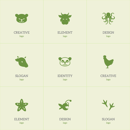 Set of 9 editable zoo icons. Includes symbols such as octopus, cougar, starfish and more. Can be used for web, mobile, UI and infographic design.