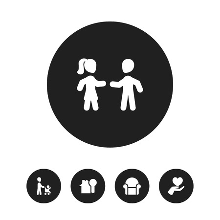Set of 5 editable folks icons. Includes symbols such as couple, daddy, save love and more. Can be used for web, mobile, UI and infographic design.