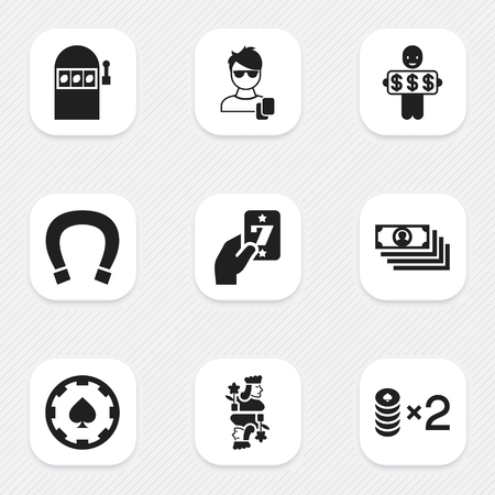 Set of 9 editable casino icons. Includes symbols such as lucky card, jack, man gamer and more. Can be used for web, mobile, UI and infographic design.