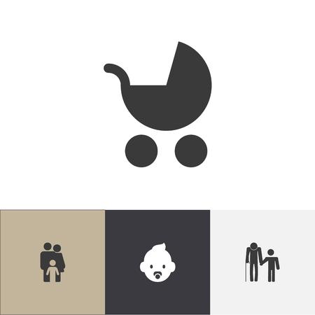 Conjunto de 4 iconos de parentesco editables. Incluye símbolos como cochecito de bebé, familia, abuelo. Se puede utilizar para diseño web, móvil, UI e infográfico.