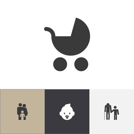 Set of 4 editable kin icons. Includes symbols such as baby stroller, family, grandpa. Can be used for web, mobile, UI and infographic design.