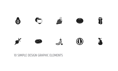 Set of 10 editable cooking icons. Includes symbols such as grape, beet, pear and more. Can be used for web, mobile, UI and infographic design.