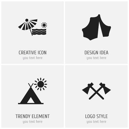 Set of 4 editable trip icons. Includes symbols such as beach, trip, camp and more. Can be used for web, mobile, UI and infographic design.