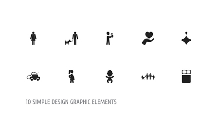 Set of 10 editable folks icons. Includes symbols such as newborn baby, grandson, save love. Can be used for web, mobile, UI and infographic design.