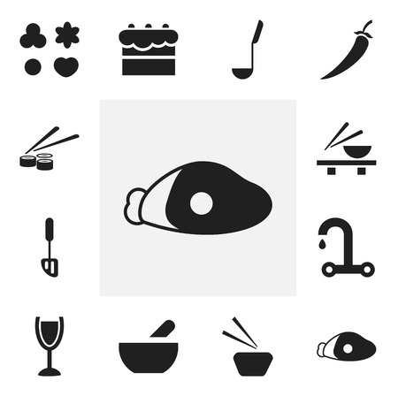 Set of 12 editable cooking icons. Includes symbols such as bowl, noodles bowl, tap and more. Can be used for web, mobile, UI and infographic design. Illustration