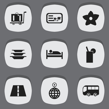 Set of 9 editable trip icons. Includes symbols such as postcard, plates, flower and more. Can be used for web, mobile, UI and infographic design. Ilustração