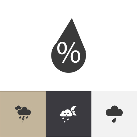 Set of 4 editable climate icons. Includes symbols such as trickle, drizzle, moon with cloud and more. Can be used for web, mobile, UI and infographic design.