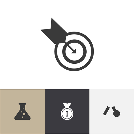 Set of 4 editable education icons. Includes symbols such as goal, flask, medal and more. Can be used for web, mobile, UI and infographic design.  イラスト・ベクター素材