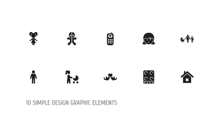 Set of 10 editable folks icons. Includes symbols such as voodoo doll, stove, daughter and more. Can be used for web, mobile, UI and infographic design. Banco de Imagens - 109743216