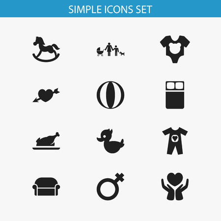 Set of 12 editable kin icons. Includes symbols such as grill, bodysuit, heart arrow and more. Can be used for web, mobile, UI and infographic design.