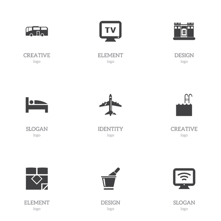 Set of 9 editable hotel icons. Includes symbols such as castle, bottle in bucket, wifi and more. Can be used for web, mobile, UI and infographic design.