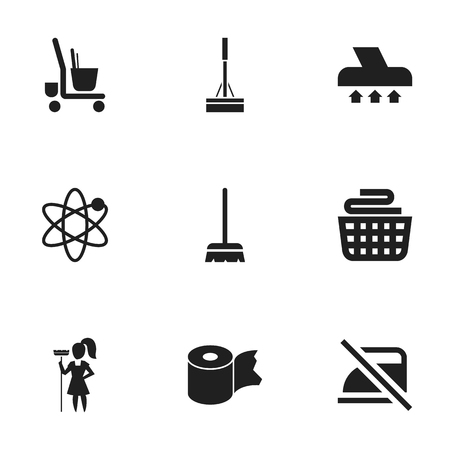 Set of 9 editable cleanup icons. Includes symbols such as cleaner trolley, do not iron, brush and more. Can be used for web, mobile, UI and infographic design.