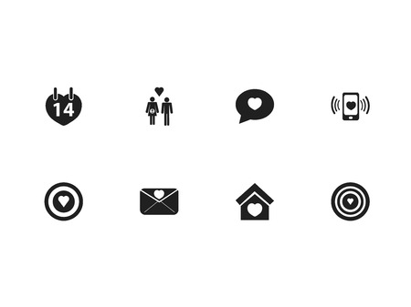 Set of 8 editable love icons. Includes symbols such as lovely postcard, cupid target, lineage and more. Can be used for web, mobile, UI and infographic design.