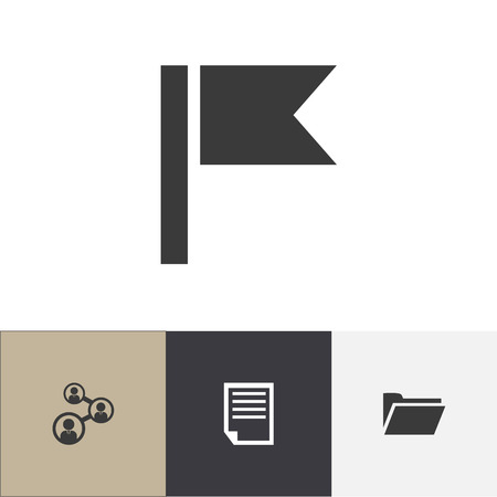 Set of 4 editable bureau icons. Includes symbols such as paper document, folder, unity and more. Can be used for web, mobile, UI and infographic design.