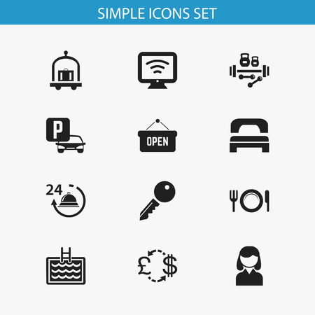Set of 12 editable travel icons. Includes symbols such as bed, fitness, bag and more. Can be used for web, mobile, UI and infographic design. 向量圖像