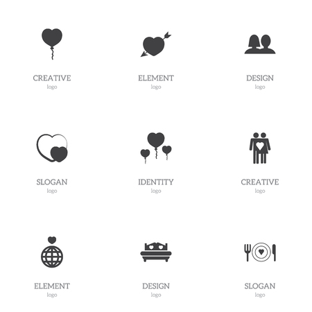 Set of 9 editable passion icons. Includes symbols such as beloveds, bed, valentine balloons and more. Can be used for web, mobile, UI and infographic design.