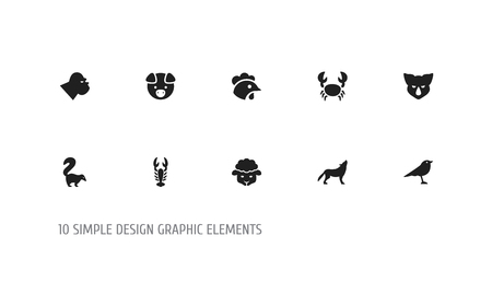 Set of 10 editable zoology icons. Includes symbols such as pig, lobster, cock and more. Can be used for web, mobile, UI and infographic design.