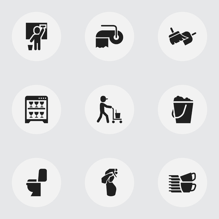 Set of 9 editable hygiene icons. Includes symbols such as housemaid, bucketful, sweeping tools and more. Can be used for web, mobile, UI and infographic design. Illustration