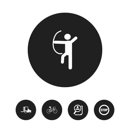 Set of 5 editable complex icons. Includes symbols such as caution, bicycle, cv review and more. Can be used for web, mobile, UI and infographic design.
