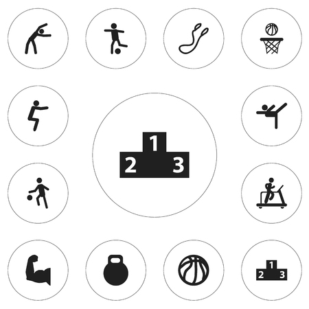 Set of 12 editable training icons. Includes symbols such as gymnastics, skipping rope, ranking and more. Can be used for web, mobile, UI and infographic design.