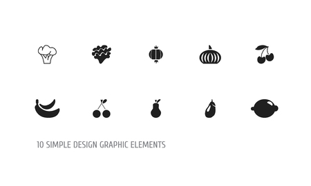 Set of 10 editable fruits icons. Includes symbols such as morello, lemon, banana and more. Can be used for web, mobile, UI and infographic design.