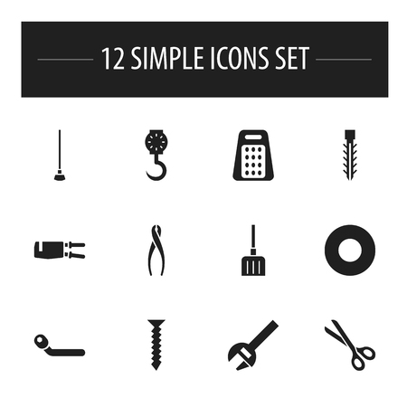 Set of 12 editable tools icons. Includes symbols such as shim, spanner, snow trowel and more. Can be used for web, mobile, UI and infographic design.