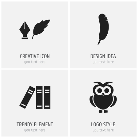 Set of 4 editable science icons. Includes symbols such as feather pen, plume, binder and more. Can be used for web, mobile, UI and infographic design.