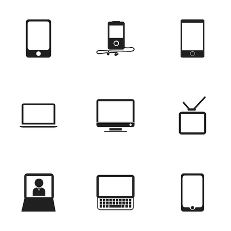 Set of 9 editable devices icons. Includes symbols such as screen, cellphone, laptop and more. Can be used for web, mobile, UI and infographic design. Vector Illustration
