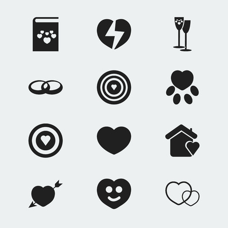 Set of 12 editable passion icons. Includes symbols such as broken soul, wineglasses, feeling and more. Can be used for web, mobile, UI and infographic design. 版權商用圖片 - 109627853